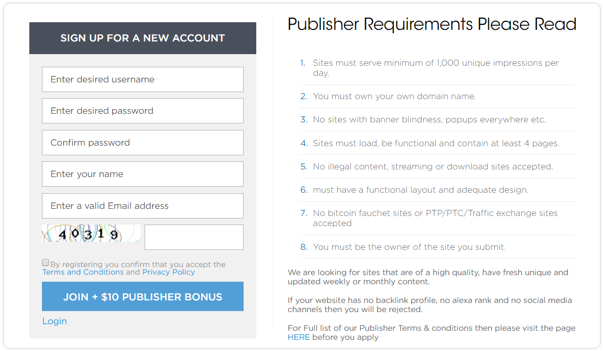 Mediablam Review- Publisher Requirement