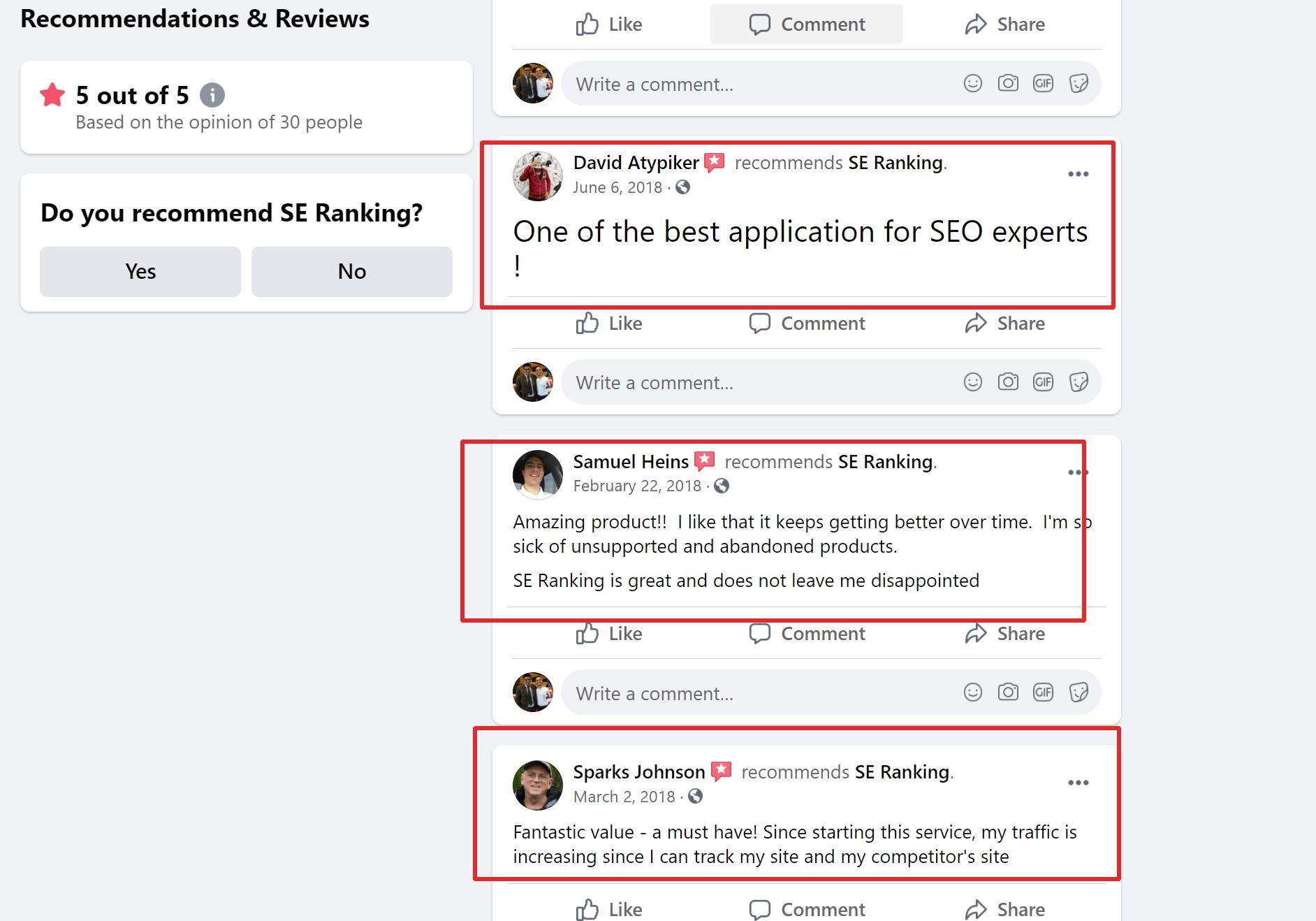 SE ranking customer feedback reviews