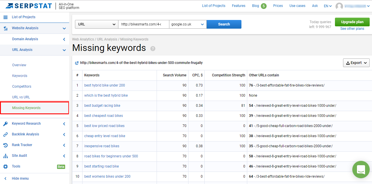 Analyze Keywords - Serpstat