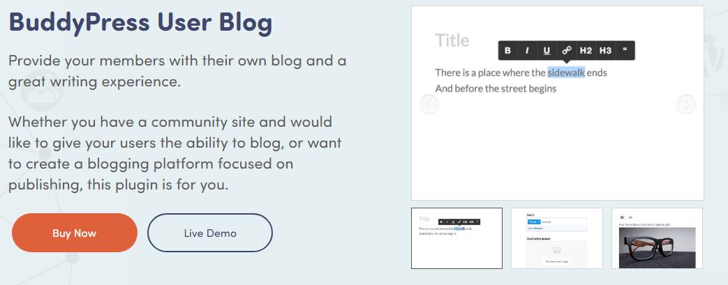 BuddyPress User Blog - BuddyPress Plugin
