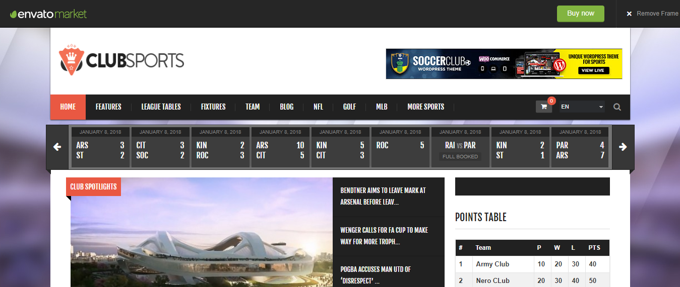 Club Sports - WordPress Sports Theme