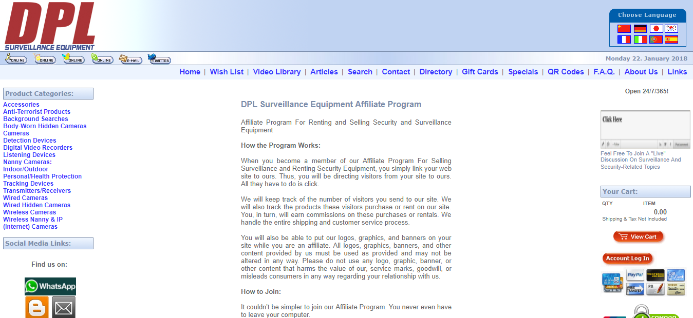 DPL Surveillance Equipment Affiliate Program