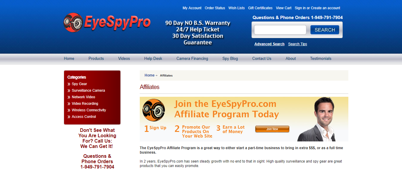 EyeSpyPro Spy Gear Affiliate