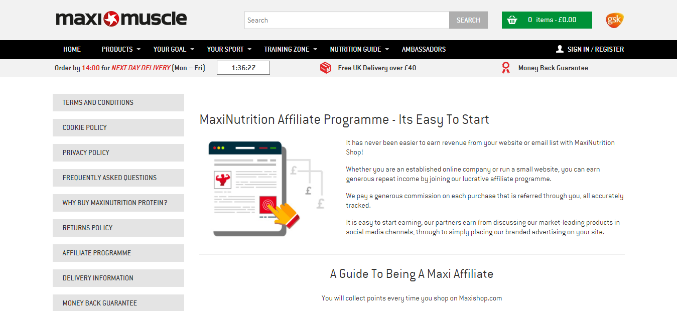 Sports Affiliate Programme - MaxiNutrition
