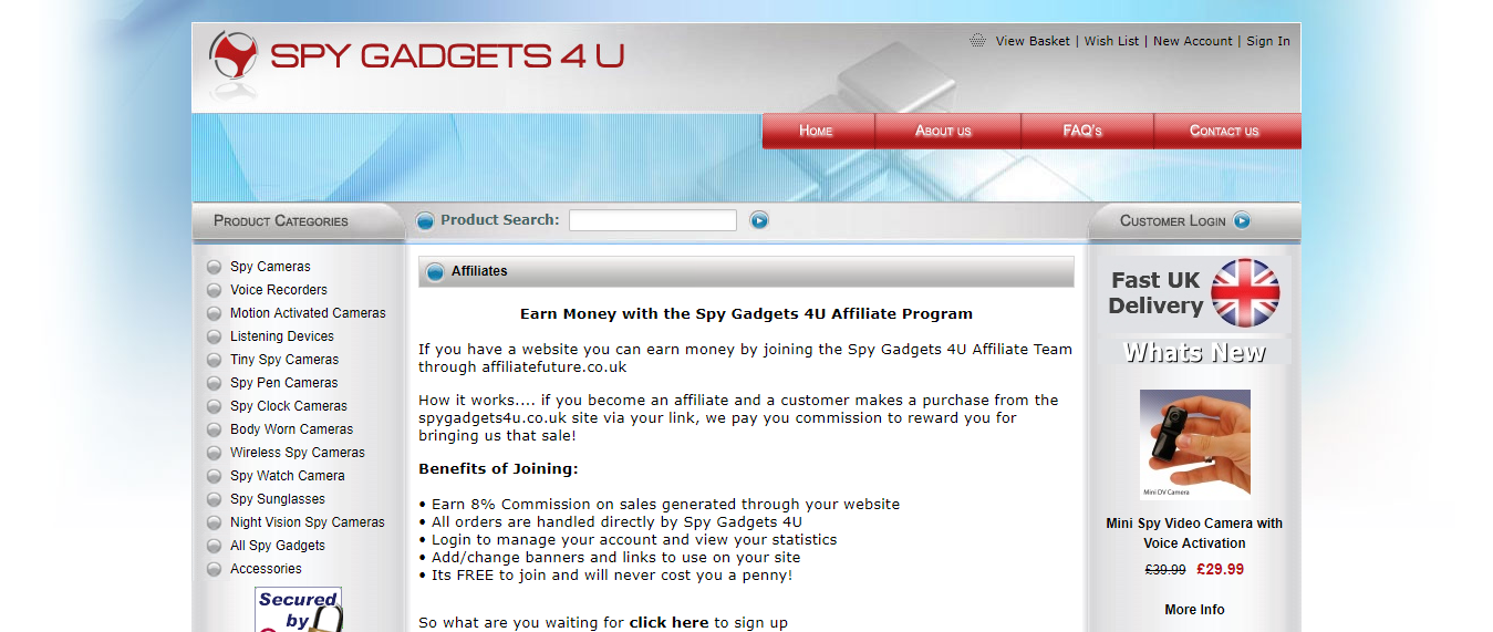 Spy Gadgets 4U Affiliate Program