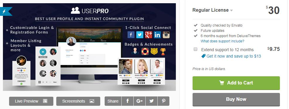 UserPro Premium Social Login Plugin