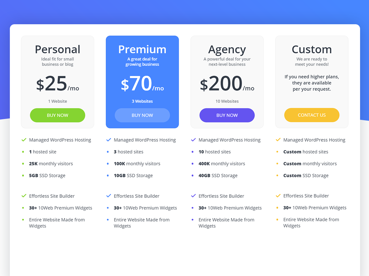 10Web Review - Pricing