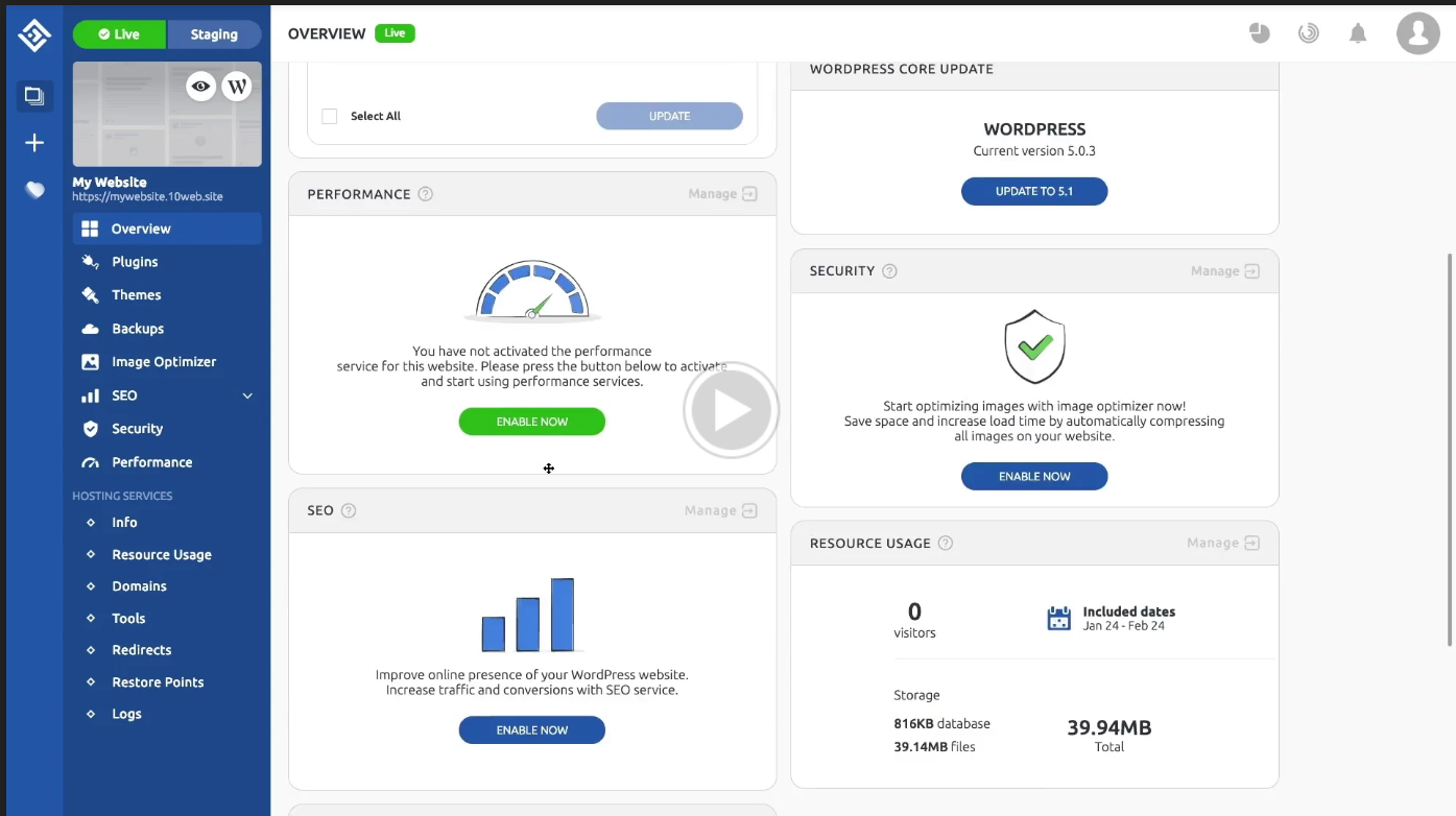 10web Review - Dashboard