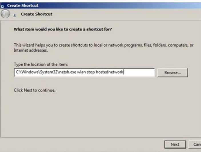Shortcut- Stop Hotpot- Create a Wi-Fi Hotspot using Command Prompt