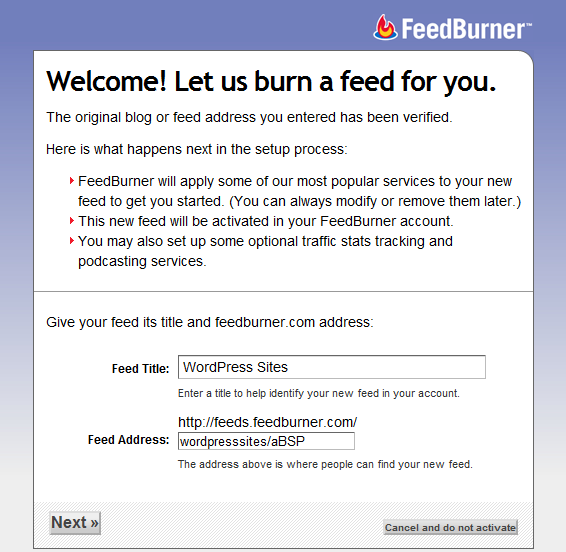 FeedBurner- Readu to Burn the Feed