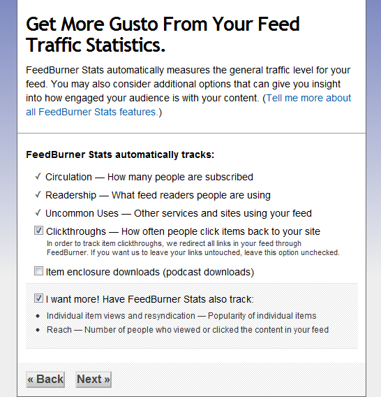 FeedBurner- Track Click Though,s