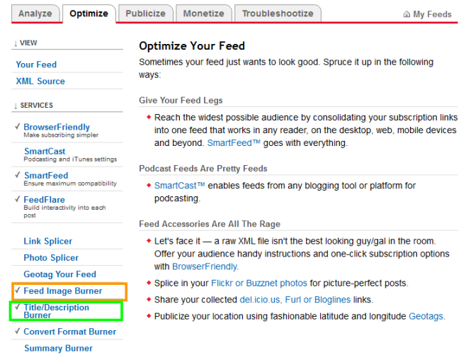 Optimize your Feed- Using Feedburner