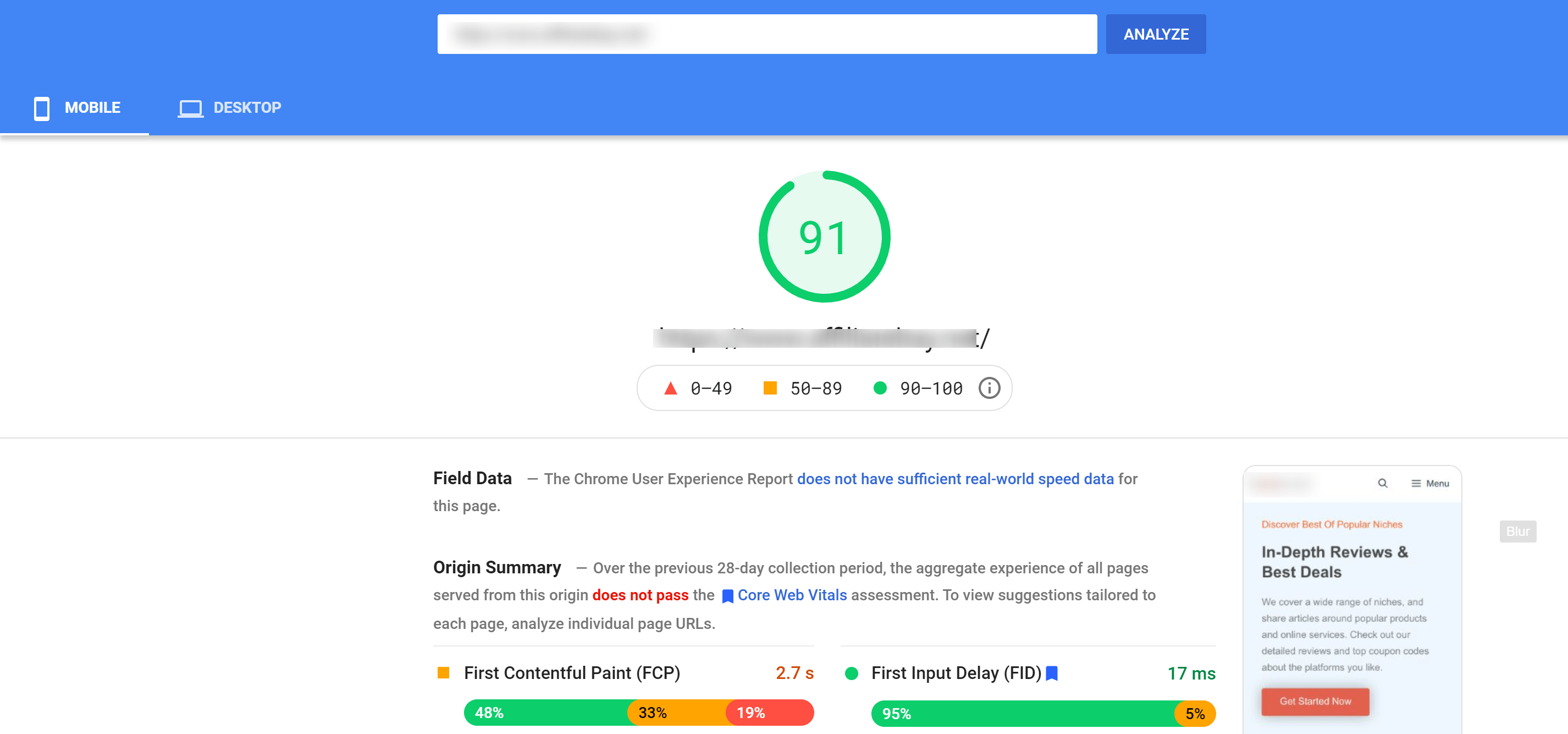 Page speed scores Hosting