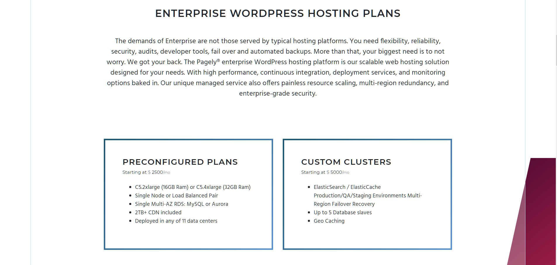 Pagely Review - WordPress Hosting Plans Enterprise