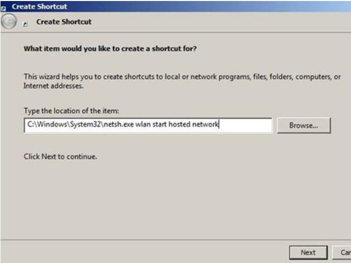 Create Shortcut- Create a Wi-Fi Hotspot using Command Prompt