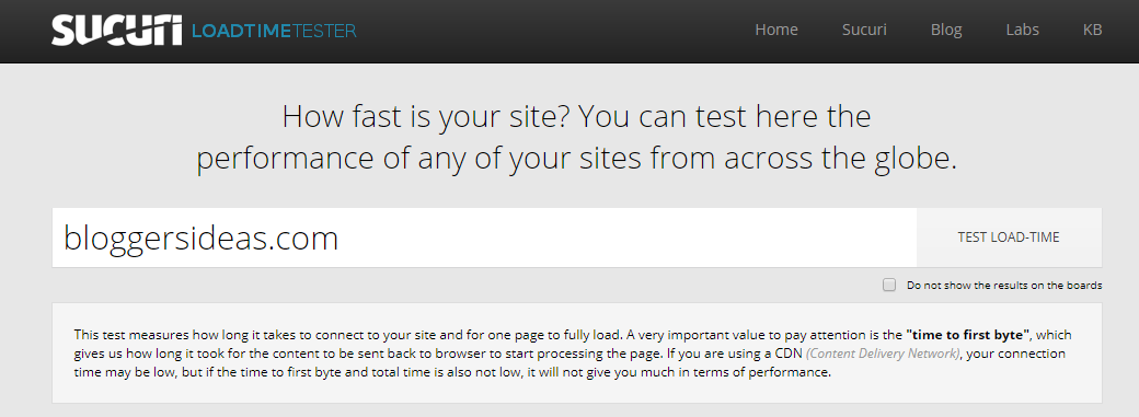 Sucuri- Website Speed Test Tool