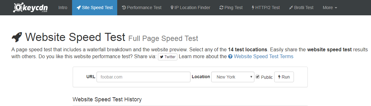 KeyCDN- Website Speed Test
