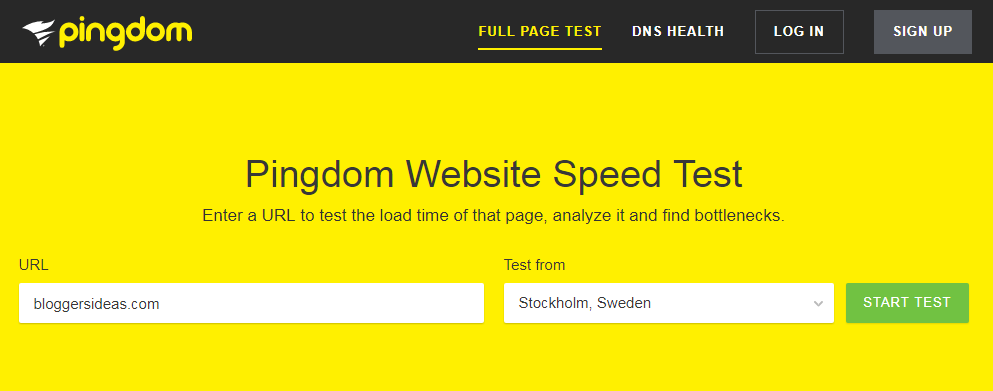 Pingdom- Website Speed Test