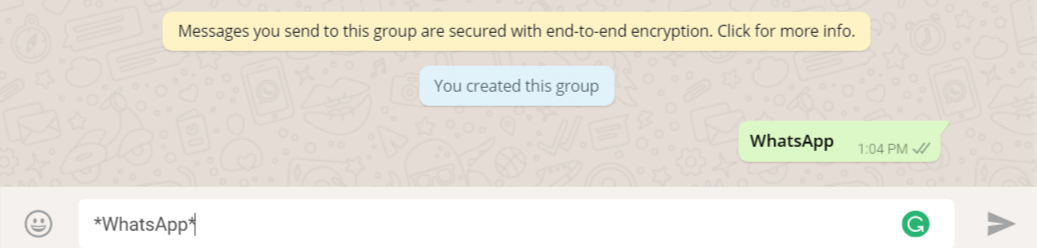 Bold text- Change Fonts in WhatsApp