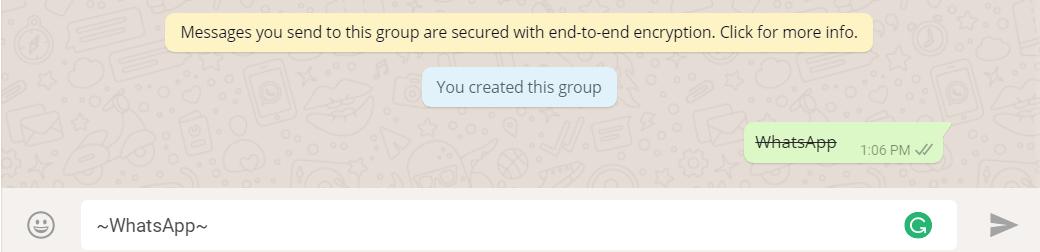 Strikethrough Text- Change Fonts in WhatsApp