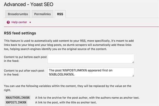 Yoast SEO Plugins- RSS_Feed