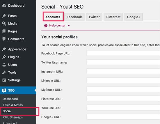 Yoast SEO Plugin- Social Settings