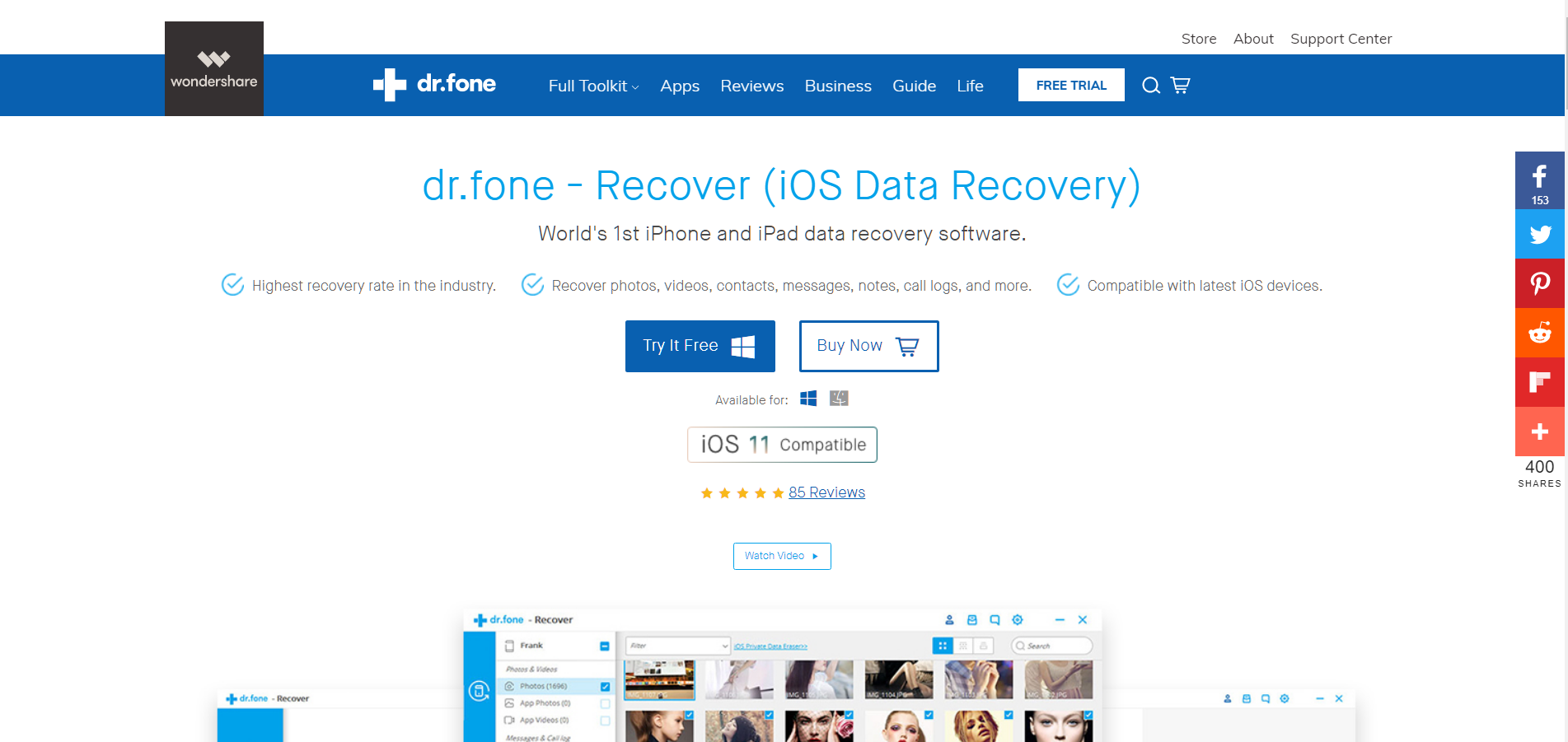 dr fone review - Recover Deleted Lost Data on iOS Devices
