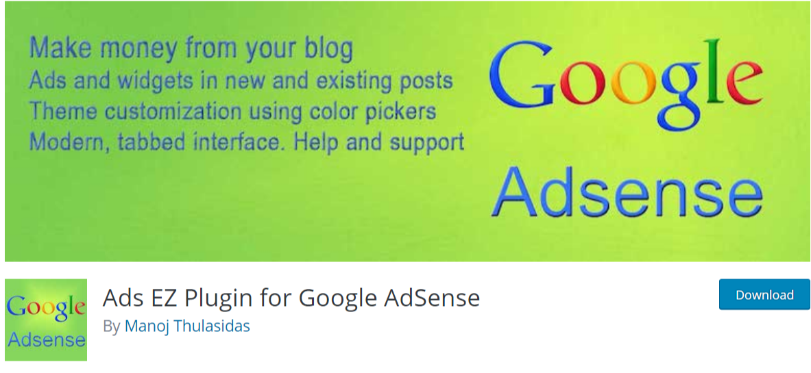 Ads EZ Plugin for Google AdSense — AdSense Plugins For WordPress