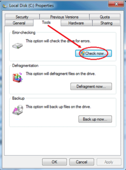 Checking the Disk Errors- make a laptop run faster