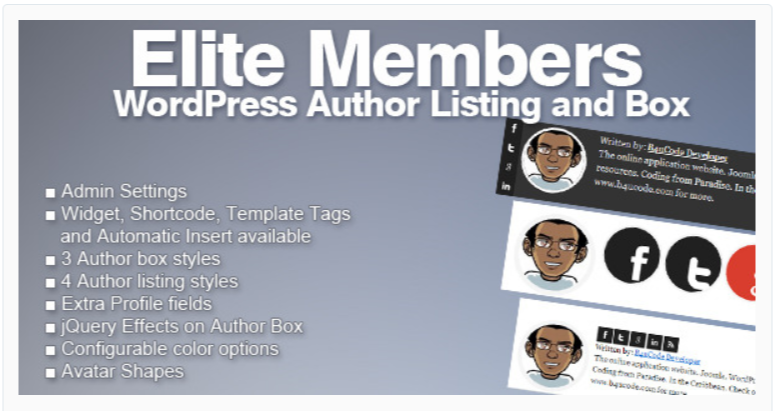 Elite Members - WordPress Author Bio Plugins