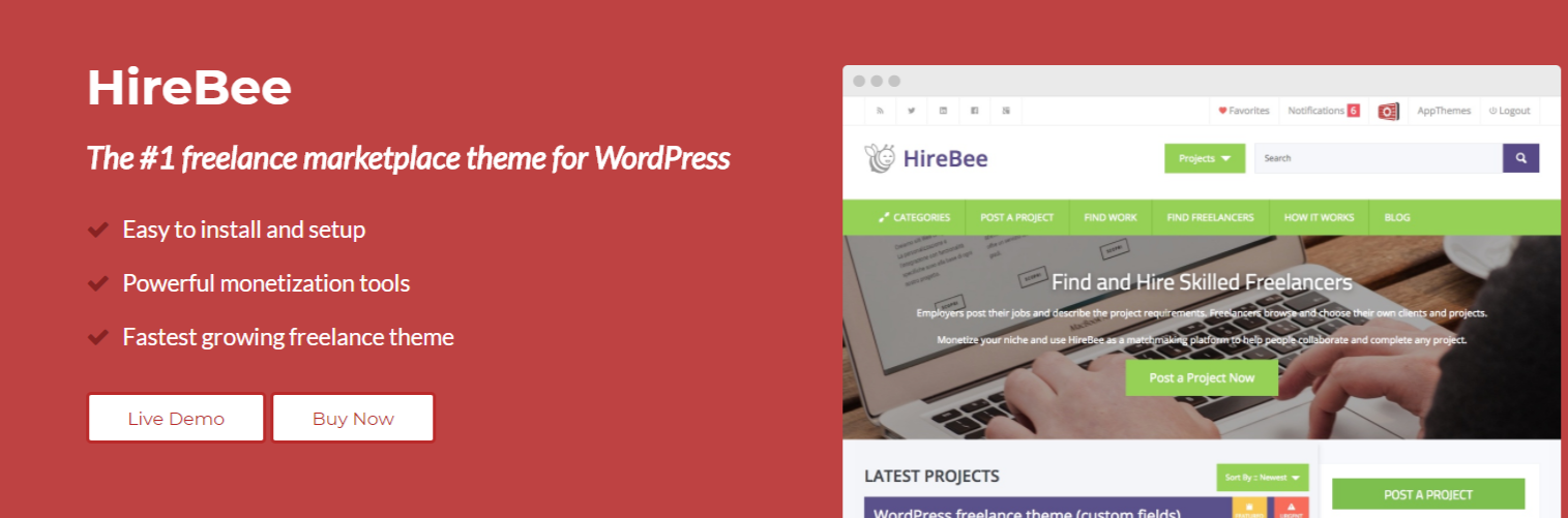 HireBee- Marketplace WordPress Themes