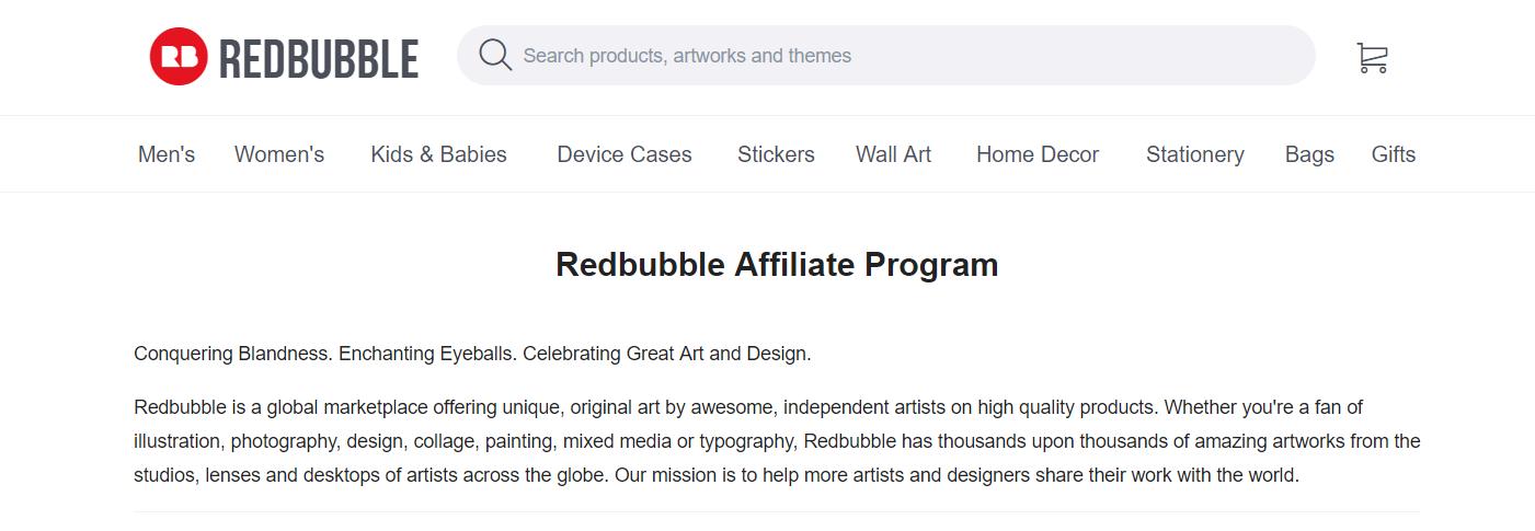 REDBUBBLE- Art Affiliate Programs