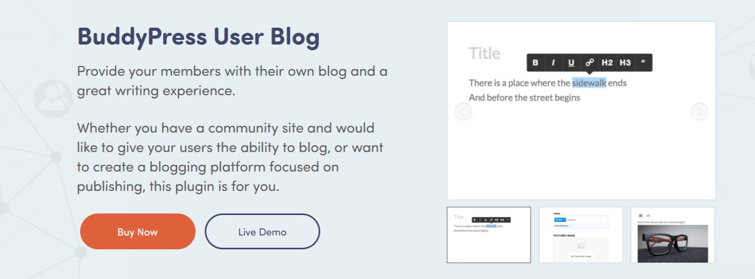 BuddyPress User Blog- Best BuddyPress Plugins