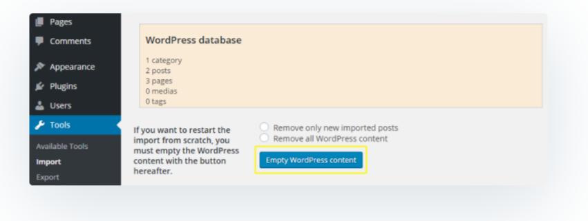 Create Backup of database- Migrate Joomla to WordPress