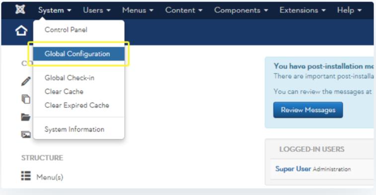 Global Configuration Panel- Migrate Joomla to WordPress