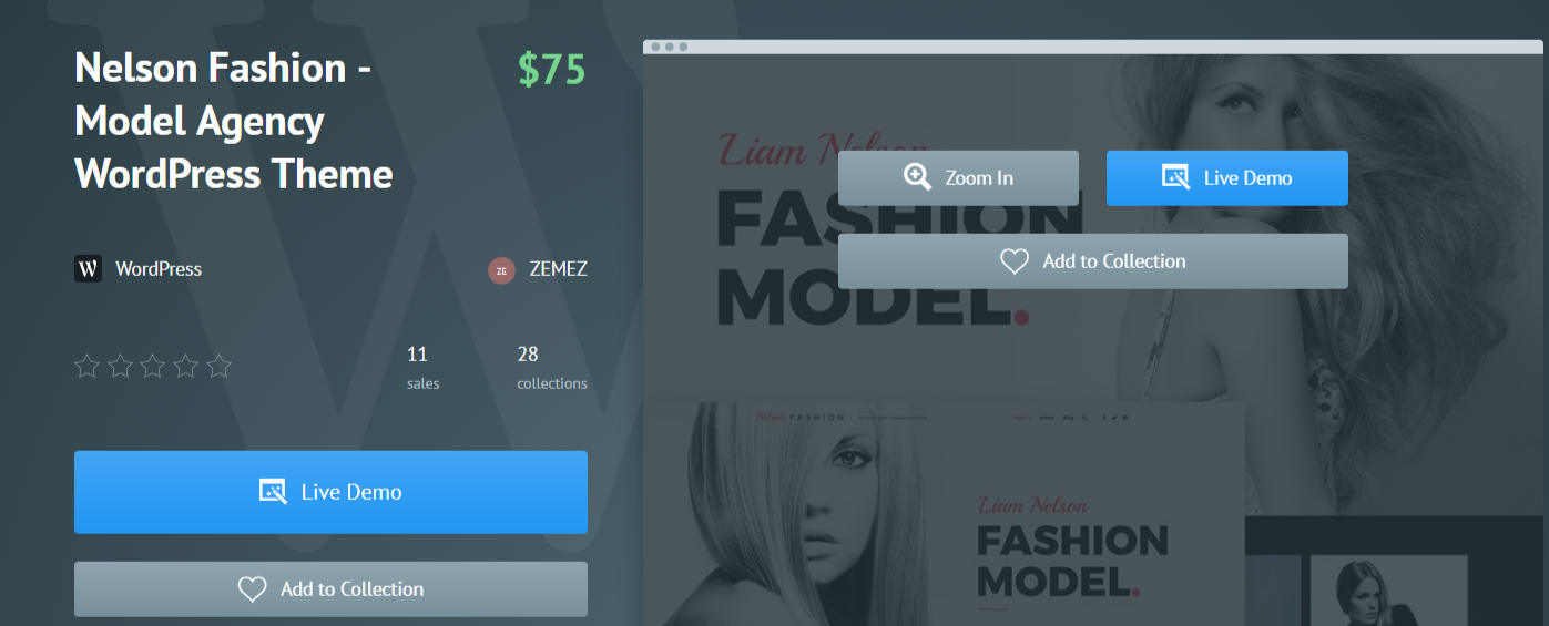 Nelson Fashion Model Agency - Fashion WordPress Themes