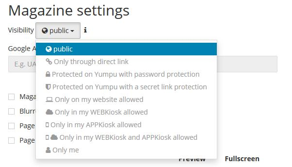 PDF flipbook Settings