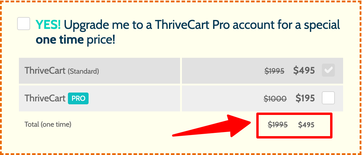 ThriveCart One time offer