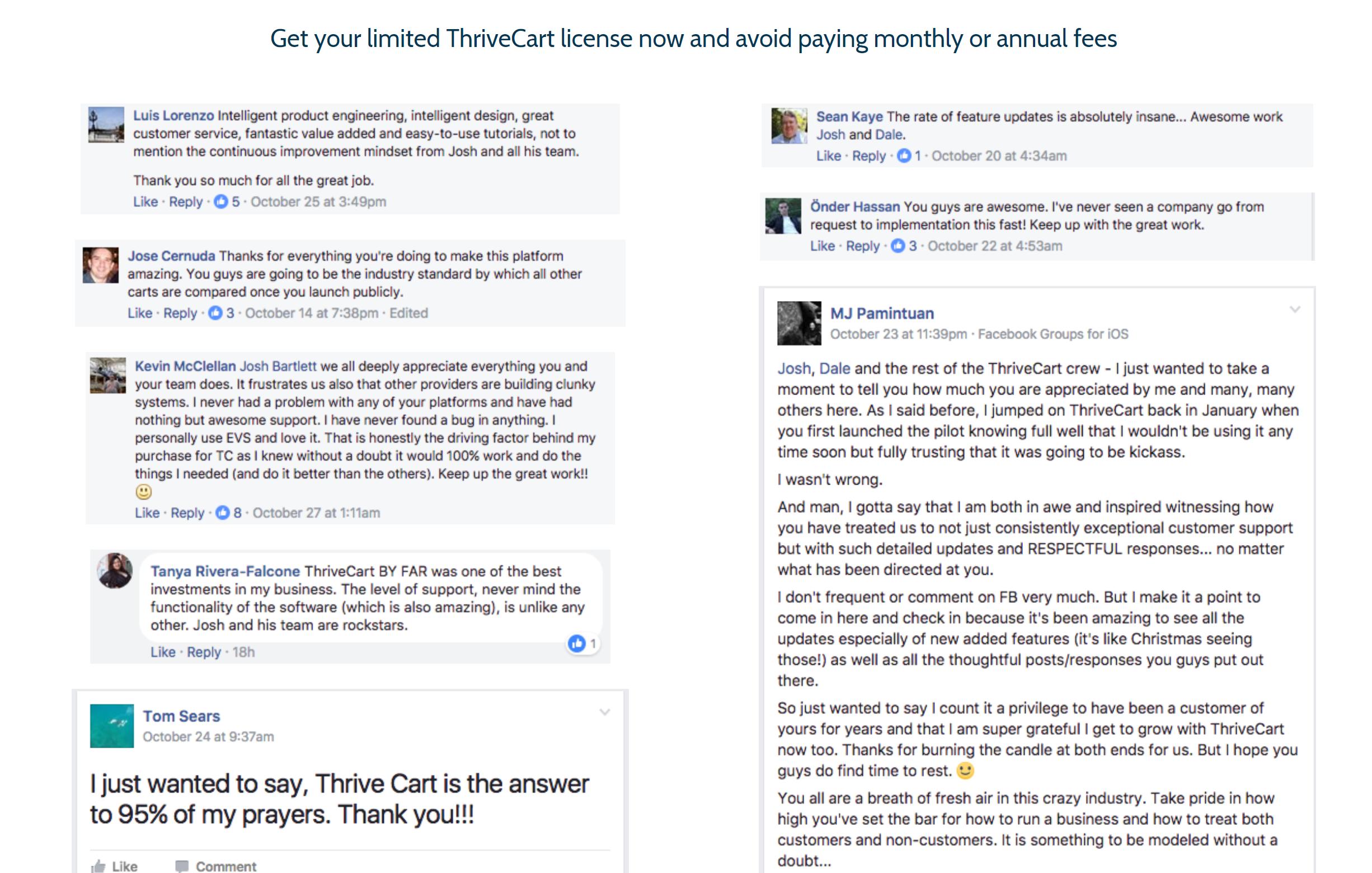 thrivecart reviews thrivecart lifetime discount offer thrivecart proofs