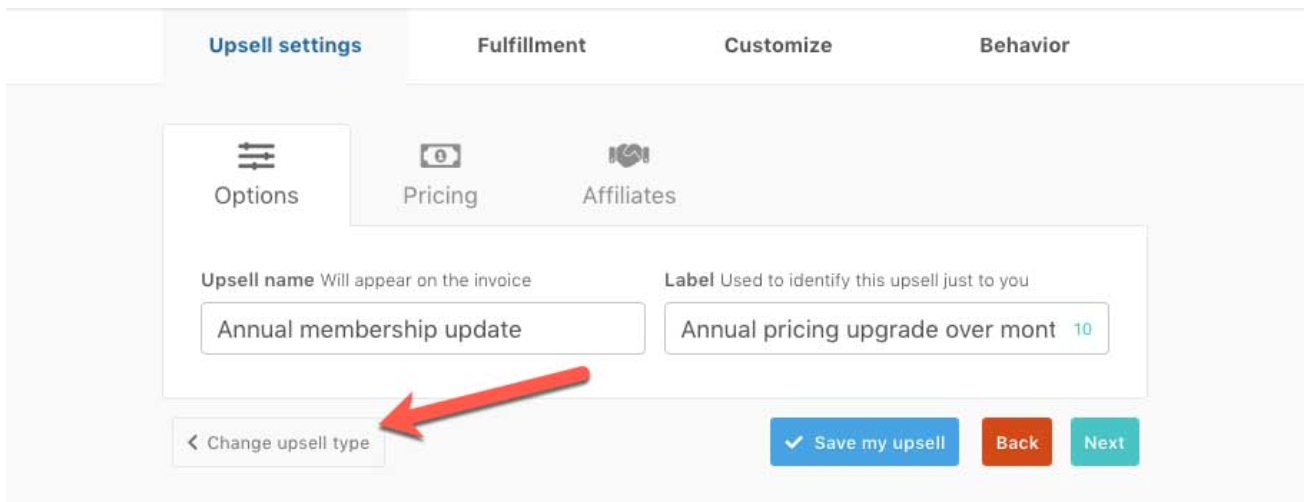 upsell setting- ThriveCart