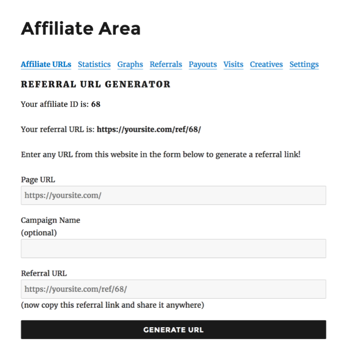 Referral URL Generator- AffiliateWP