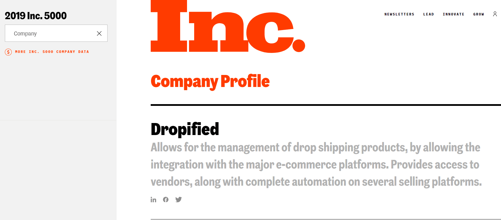 Dropified featured in inc