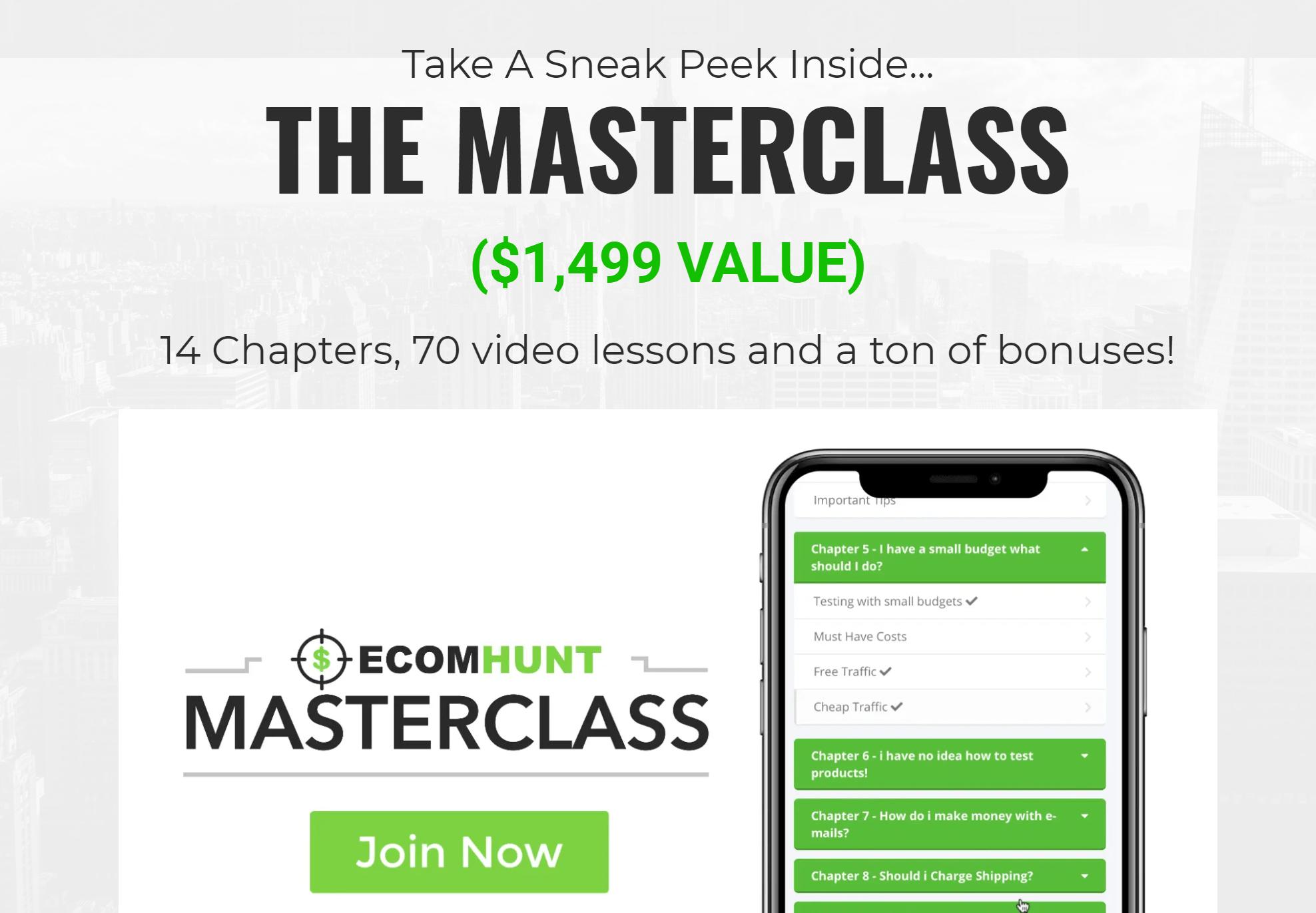 Ecomhunt masterclass reviews