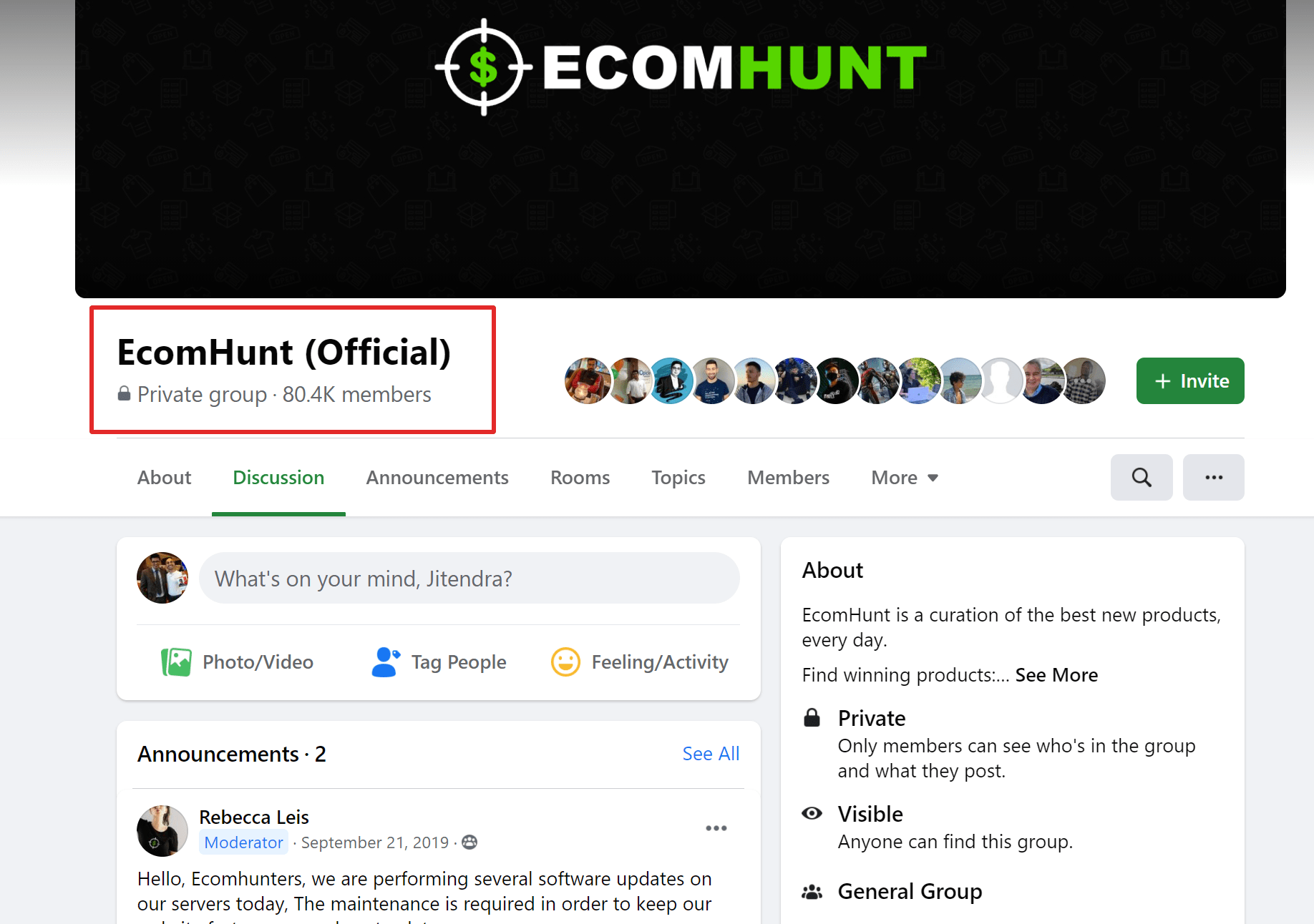 Ecomhunt reviews on facebook
