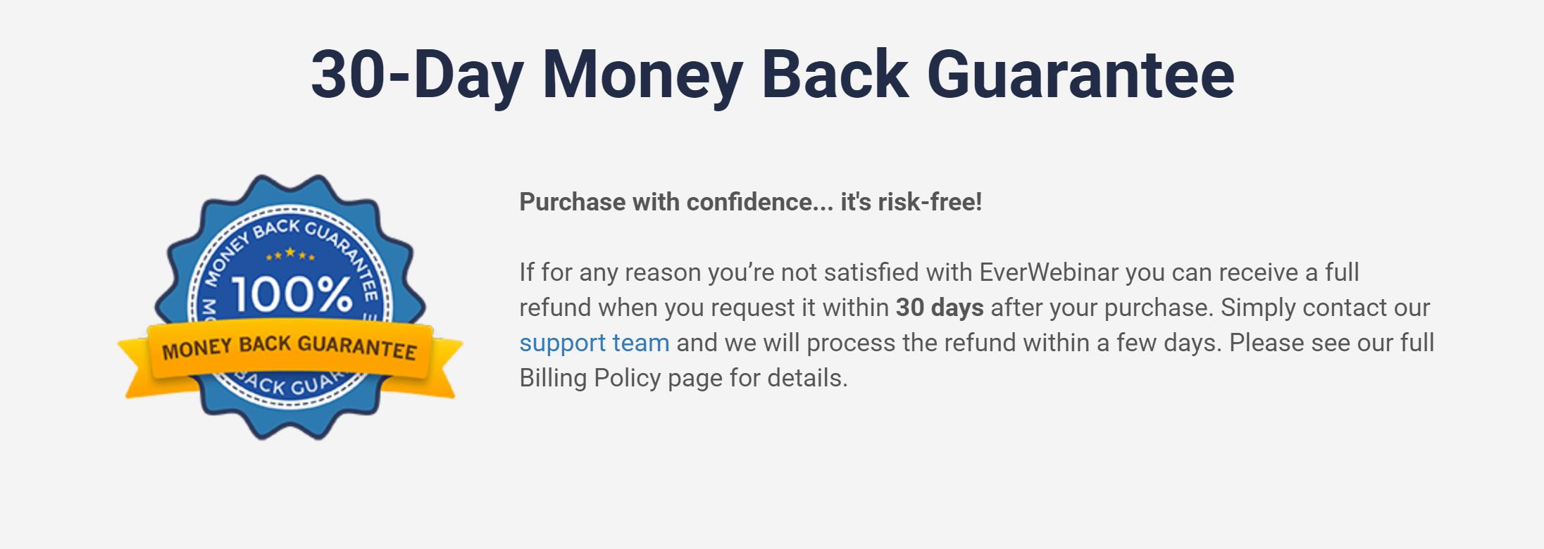 Everwebinar money back guarantee