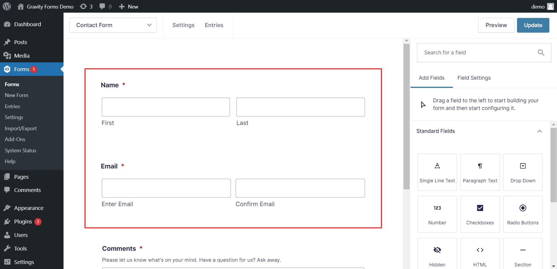 Gravity Forms Demo WordPress