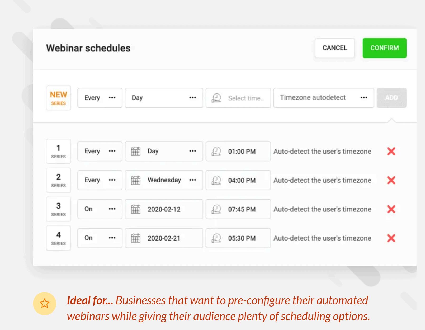 Webinar schedules
