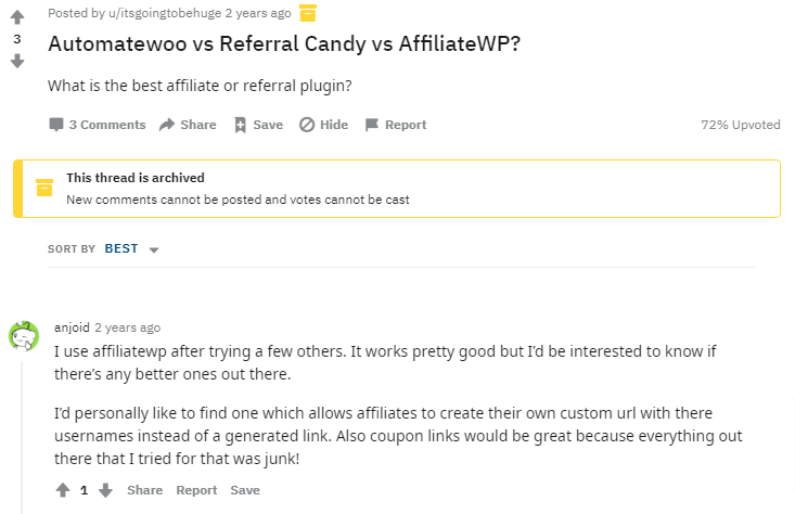 affiliatewp review - reddit