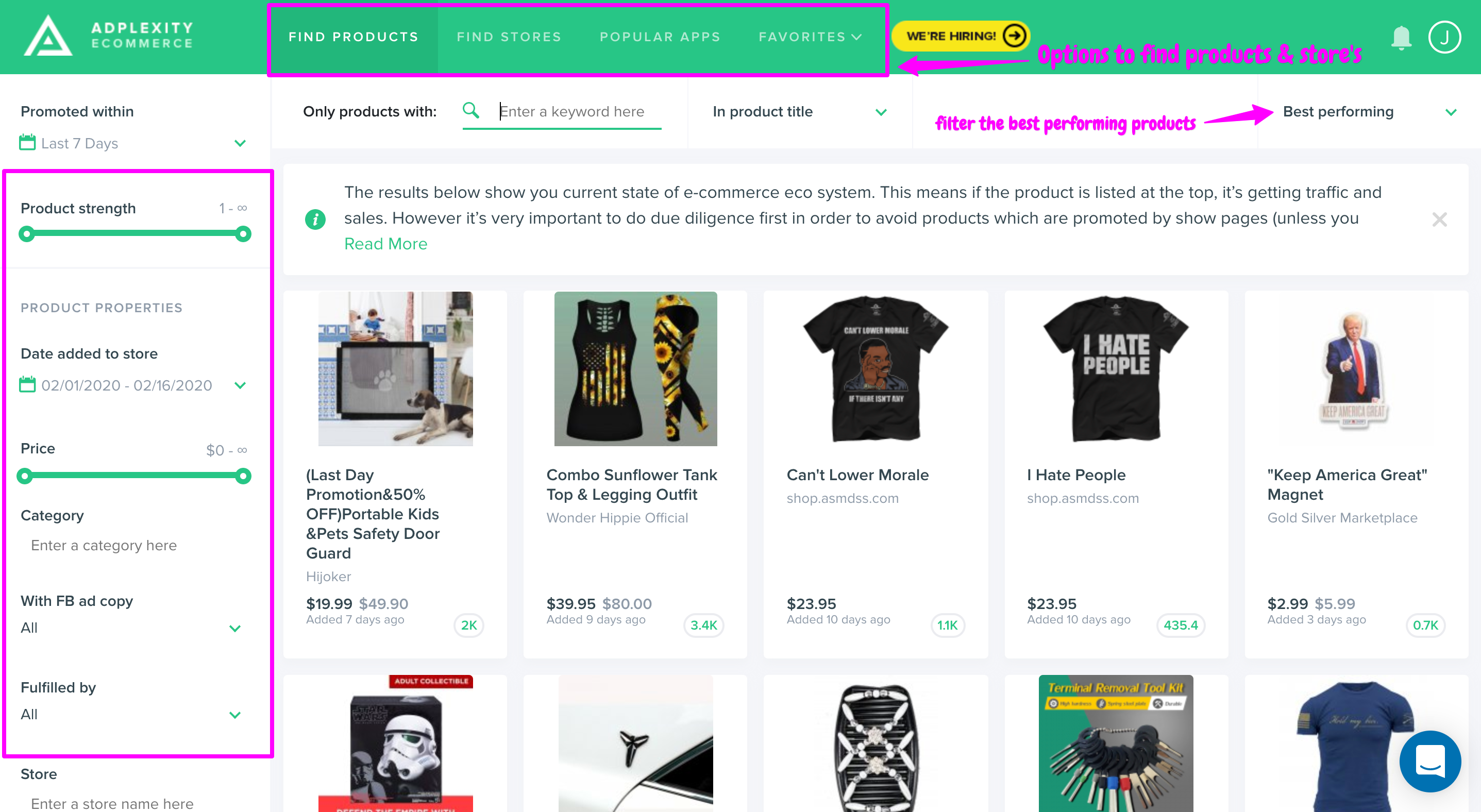 find profitable ecommerce products