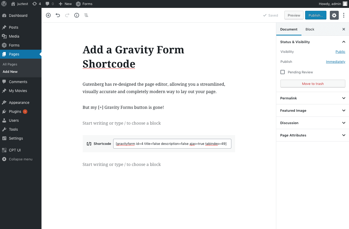gravity form short code